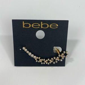 Bebe Black Gold Ear Cuff Earring